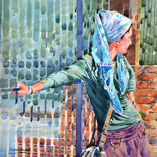 Gypsy at the Gate by Michael Holter NWS Watercolor ~ 13 x 13