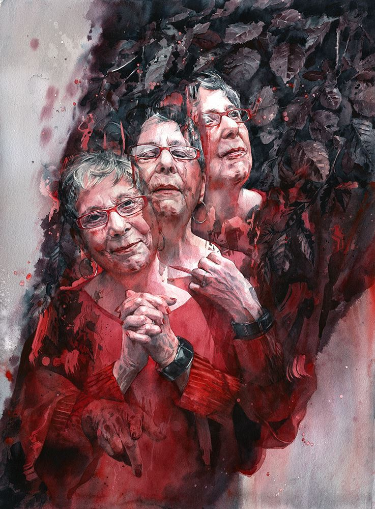 Watermedia painting by J. Barnum, a portrait with three views of the same older woman in red blended together in a surreal style.