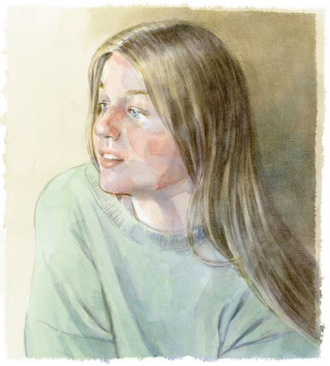 """Daydreamer"" by Matsick, a watermedia painting of a young person with long hair looking to one side with a pensive expression and high key palette."