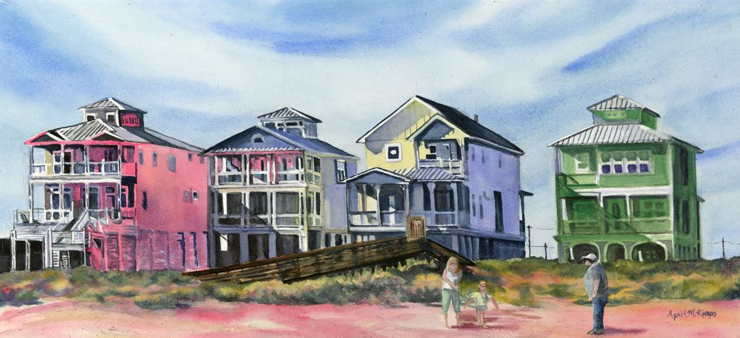 "The watermedia painting ""Beach Vacation"" by April Rimpo, four colorful beachfront houses with three figures."