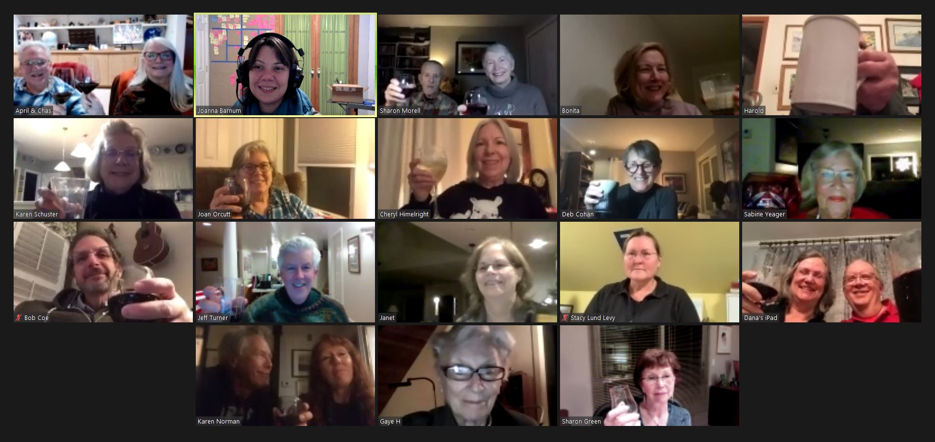 Screenshot of a Zoom meeting including BWS Board members raising a toast together.